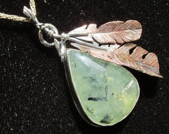 Sterling Silver and Copper Feather Brutalist Prehnite Pendant.