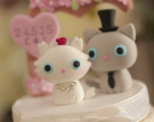 kitty and cat Wedding Cake Topper--k801