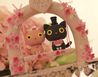 kitty wedding cake topper, cat  wedding cake topper,pets wedding cake topper---k818