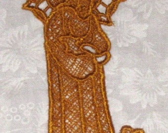 Good Shepherd Bookmark, Machine Embroidered Lace, gold
