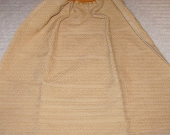 Crochet Hanging Towel Gold Towel with Gold crochet top