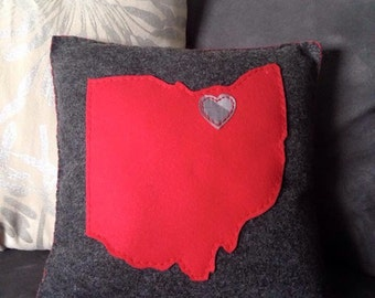 12x12 Gray Felt with Red OHIO LOVE Accent Pillow