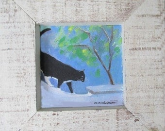 Original Cat Painting * THE TRAVELER *  Framed * Small Art Format * Cat Art