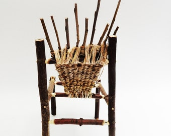Primitive Mini Adirondack Twig Chair, Fairy Chair, Fae Bark Wicker Furniture, Rustic Wild Miniature Woven Chair