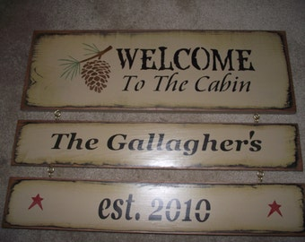 Personalized Welcome to the Cabin primitive wood sign