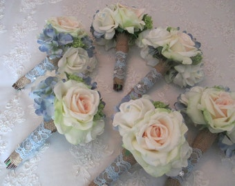 Cottage Farm Style Package Baby Blue and  White Realtouch Rose Silk Blue Hydrangea Bridal and Bridesmaids Bouquet Set