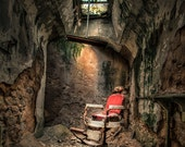Devils Haircut, Barbers Chair, Demon Barber, Surreal, Historical Ruins, Eastern State Penitentiary, HDR color Photography Print, Signed