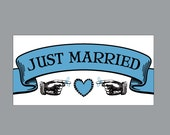 Just Married Wedding Car Magnets - Car Magnets Vintage Antique Victorian Cottage Chic Rustic Large Banner Just Married Wedding Car Magnets