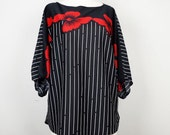 Vintage Red Floral Black White Stripe Dolman Top L