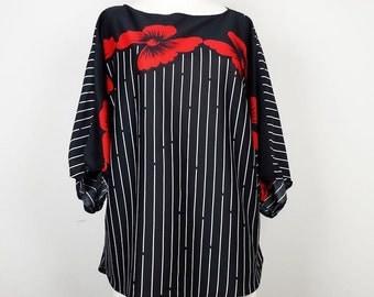 Vintage Red Floral Black White Stripe Dolman Top Misses L Max's Lady
