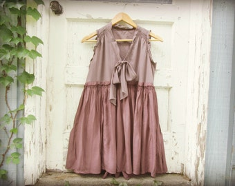 XSmall Mauve Babydoll Tunic Top// Upcycled Purple Summer Top// emmevielle