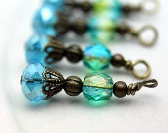 Vintage Style Aqua Blue Crystal Rondelle and Mermaid Aqua Sea Green Czech Bead Earring Dangle Charm Pendant Drop Set