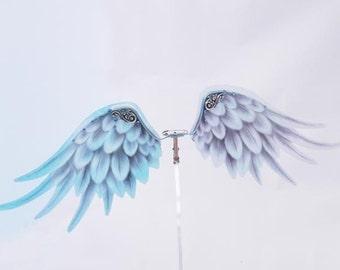 1/6 OOAK Angel wings for Dolls - Crystal Blue