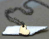 FREE SHIPPING. Handstamped Tennessee Map Outline with Brass Heart Necklace Silver Aluminum, Brass heart. Southern. Tennessee Love. Rustic