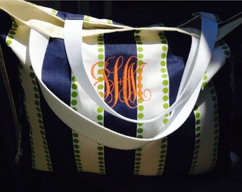 Bridesmaids tote, monogrammed tote, beach bag, striped tote, navy tote, large tote, teacher tote, diaper bag, beach tote, monogrammed