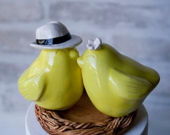 Bird Cake Topper with Fedora
