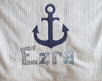 Monogrammed Baby Blanket in NAUTICAL, Navy Dot Minky and White Chenille, Personalized with Your Baby Boy's First Name in Fabric