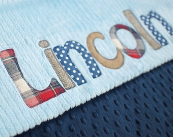 Personalized Baby Blanket in LUMBERJACK, Navy Blue Dot Minky & Chenille, Fabric Monogram with Your Baby Boy's First Name in Designer Fabrics