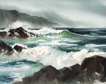 "Against The Rocks - Original Watercolor Painting - 9""x12.25"""
