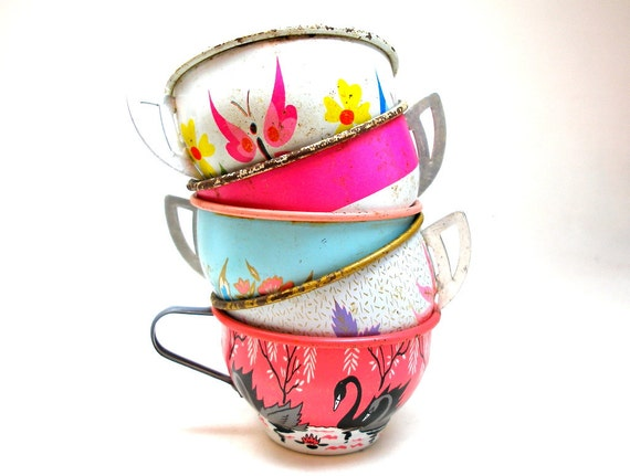 50s tin toy tea cups swans butterflies amp flowers in pink blue white