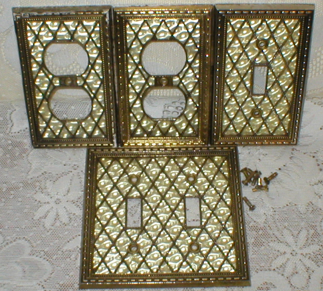 Double Light Switch Plate Electrical Outlet Covers Brass Pearl