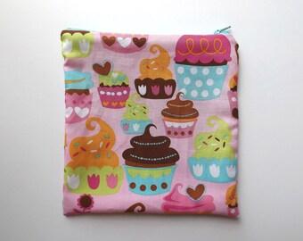 Sandwich Bag - Kids - Pink Cupcakes - Lunch Bag