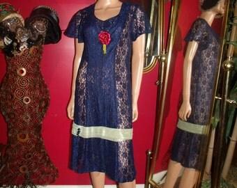 Vintage  90s Flapper Dress  Lace  Tea party Holiday  Size 9/10