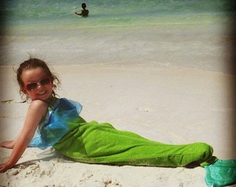 Mermaid Tail Towel In Bright Green and Turquoise