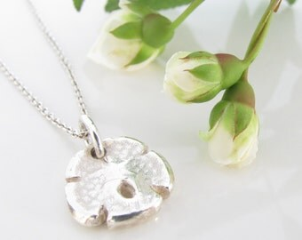 Tiny Sand Dollar Necklace - Hand Made from Fine Silver and molded from a Real Sand Dollar - Sterling Chain - Made To Order