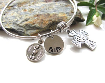 Faith Bangle Bracelet - Expandable - Stainless Steel and Pewter