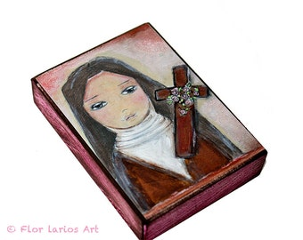 Saint Therese -  Giclee print mounted on Wood (4 x 5 inches) Folk Art  by FLOR LARIOS