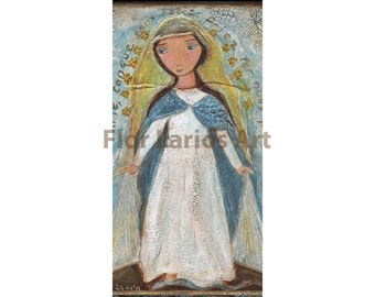 Our Lady of Miraculous Medal - Giclee print mounted on Wood (5 x  10) Folk Art  by FLOR LARIOS