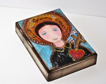 Saint Gemma - Aceo Giclee print mounted on Wood (2.5 x 3.5 inches) Folk Art  by FLOR LARIOS