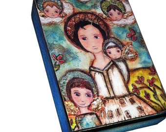 Saint Gianna Beretta Molla - Aceo print mounted on Wood (2.5 x 3.5) Folk Art  by FLOR LARIOS