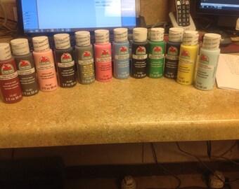 12 brand new bottles of Apple Barrell acrylic paint 2oz bottles