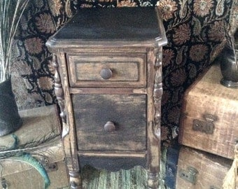 Vintage 1920s Two Drawer Rustic Luxe Solid Wood Night Stand