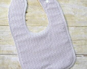 Gray Crimp Drooler Bib - Snap - Non wicking fleece back - Middle layer Organic cotton