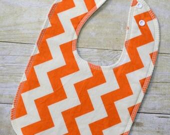 Orange Cream Chevron Drooler Bib - Snap - Non wicking fleece back - Middle layer Organic cotton