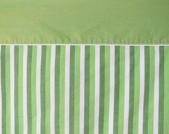 Vintage 60s Mod Green Striped Full Flat Sheet Lime Olive White Bedding Linens Fabric