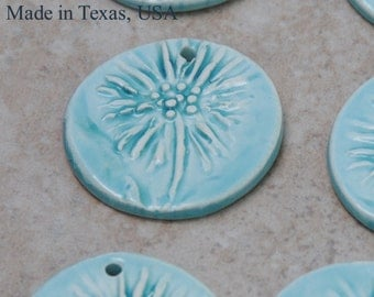 Pottery Focal Pendant Bead, in Light China Seas Blue with Dandelion Design