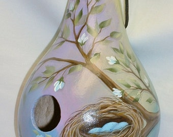 Birds Nest Gourd Birdhouse - Hand Painted