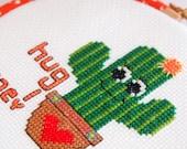 Hug me! Cuddly Cactus  5 inch 13cm Cross Stitch - Ready to Hang original design