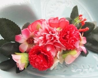 Pink Spring Fairy Floral Barrette-Flower Clip-Hair Accessory-Statement Piece-Woodland Fantasy-Fae Wedding-Pink Bridesmaid-Flower Crown-Tiara