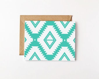 Desert Pattern Eco Friendly Card Set Stationery Set Recycled Paper Note Card Set Turquoise Blank Cards Blank Note Cards