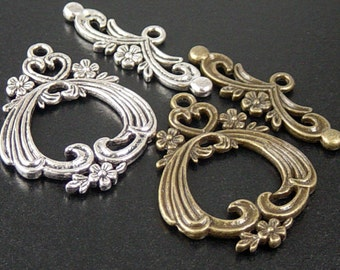 Toggle Clasp 2 Sets Antique Bronze or Silver CHOICE Flower Filigree Victorian Large 38mm NF (1053cla38m1)