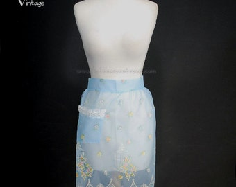 Vintage Hostess Apron Blue Flocked Birdcages Roses Lace