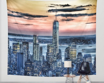 New York - Manhattan Landscape - Wall Tapestry, Photography, urban, sunset, wall art, modern, dreamy, outdoor, garden, privacy screen