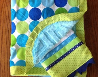 Blue and Green Poka Dot Minky Blanket and Burp Cloth Set...PERSONALIZATION AVAILABLE