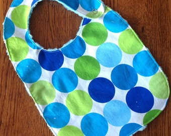 Bright Lime Green and Blue Minky Dot Baby/Toddler Bib