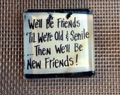 We'll be friends until we are old and senile, then we will be new friends... Glass Magnet